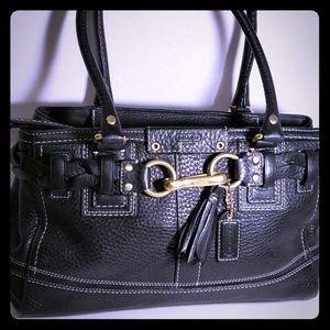 "So nice Black Coach Bag 12"" x 8"" Heavy Leather"